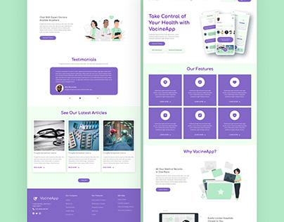 VacineApp - Landing Page Web Responsive UI