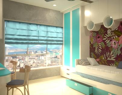 The Girls Bedroom 3D Visualisation