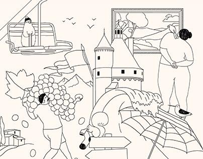 Illustrations pour une campagne web Citroën