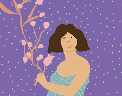 Girl with flowers ⋆ Illustration⋆ Process