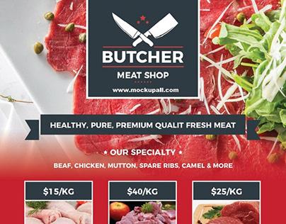 Free Butcher Shop Flyer Design Template of 2020