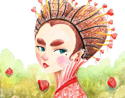 Queen of Hearts - Watercolor process
