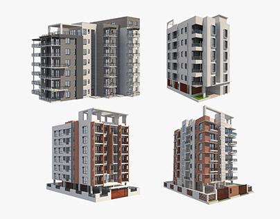 4 Apartment Buildings Set_7