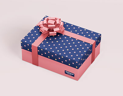 Gift box mockup with ribbon in PSD