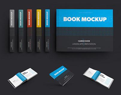16 Book Mockups Hardcover Landscape Orientation +1 Free