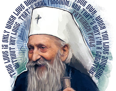 Patriarch Pavel (Stojčević) of Serbia. Watercolor