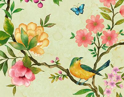 Chunoiserie Wallpaper