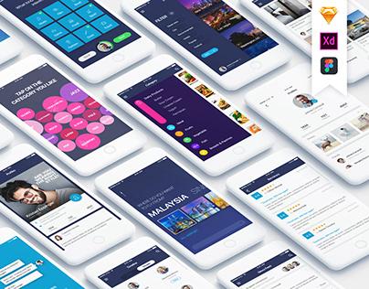Mountify Mobile UI Kit - Free PSD Sample UI