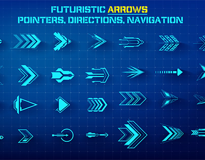 Set of Futuristic Arrows, Pointers, Direction, Callouts