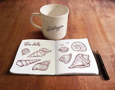 Sea shell pen & ink sketch set
