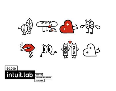 为学校设计的表情符号émoticônes pour ecole Intuit lab