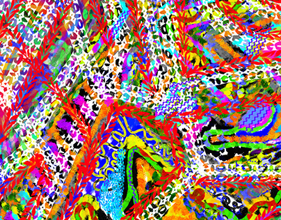 Colorful Abstract Mixed-Brush Digital Art
