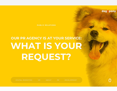 Landing page for PR agency