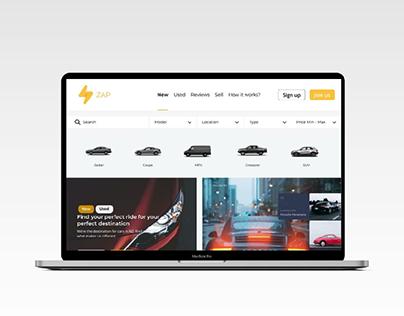 ZAP-Car marketplace web UI concept.