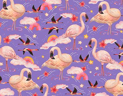 Flamingo pattern design - V2