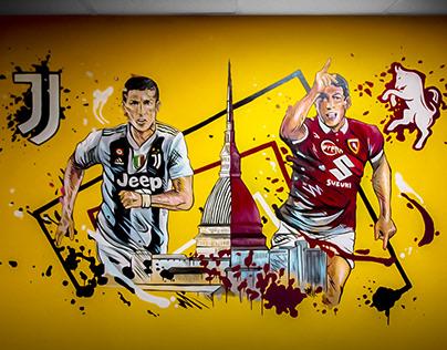 Mural Derby Torino fc vs Juventus