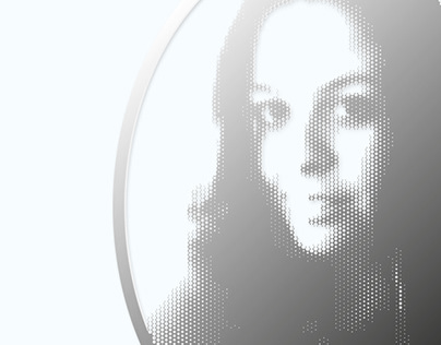 Self portrait metal laser cut dots 3d effects