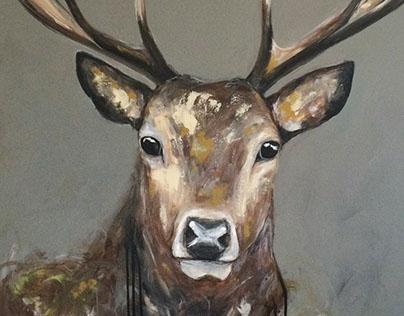 Peinture acrylique d'un cerf sur toile galerie
