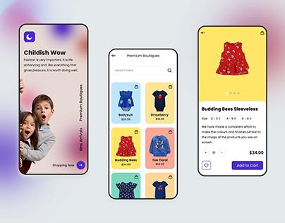 Kids Boutique App Design