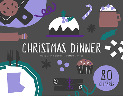 Cliparts for Christmas and New Year Dinner design