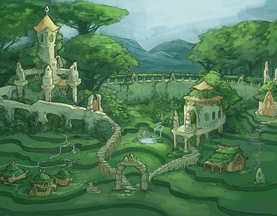 Slavic/Elven city concept art