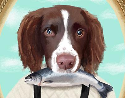 Fisherman Dog Portrait