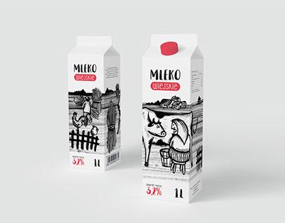 Milk packaging ink illustration
