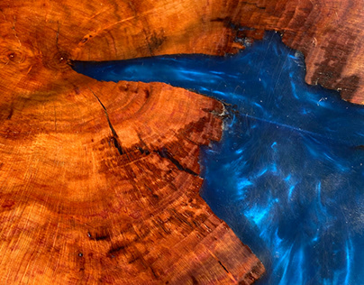 Metallic Blue Epoxy Table