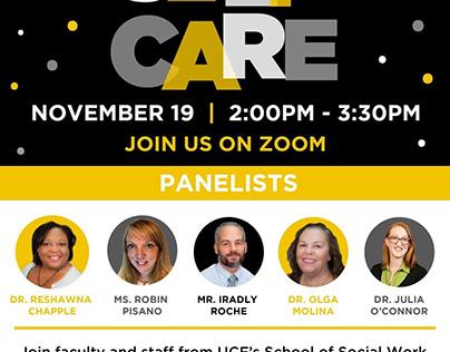 UCF School of Social Work Self Care Event Flyer