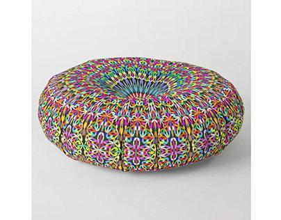 Happy Garden Mandala Floor Pillow