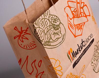 """Marketplace"" restaurant branding elements"