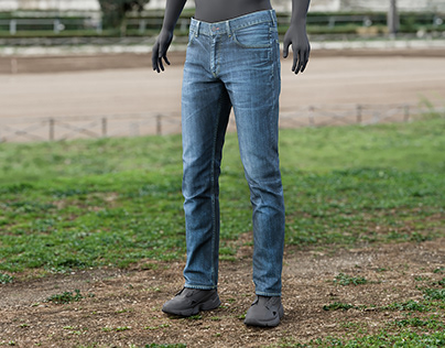 Realistic 3D model of Men's Jeans