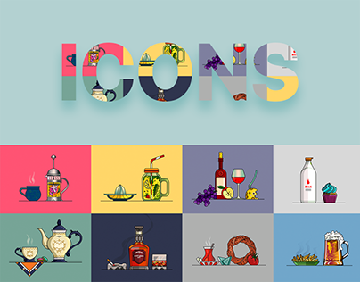 Hot & Cold Drinks Icon Set