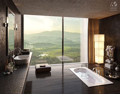 Stunning bathroom with mountain view