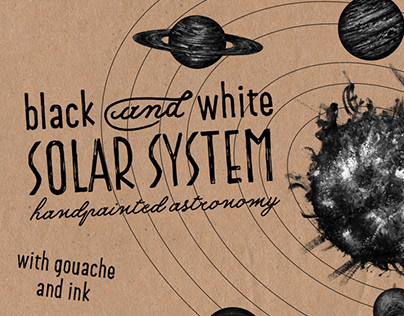 Solar System with gouache and ink