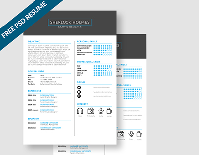 FREE psd Clean Resume - Sherlock Holmes
