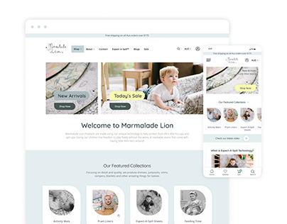 Baby Products eCommerce site with mobile version
