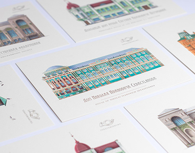 Postcards with architectural monuments