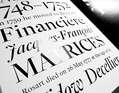 Font specimen. Revival of Rosart's types.