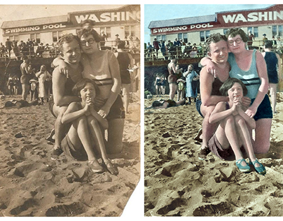 Colorisation of a photograph of a family at the beach
