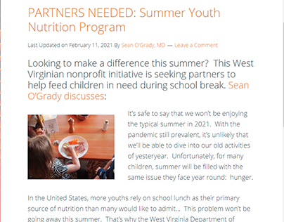 PARTNERS NEEDED: Summer Youth Nutrition Program