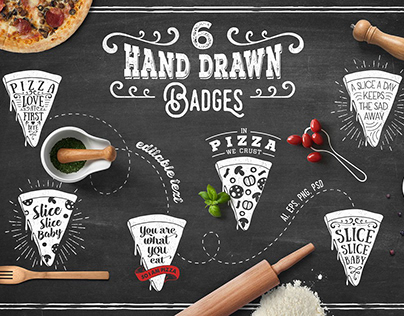 6 Hand Drawn Pizza Slice Badges