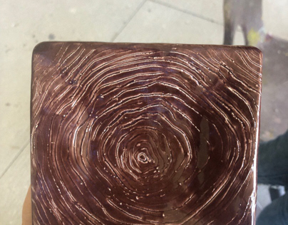 Finished tree bark plate