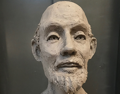 """Portrait Bust, Water Based Clay, 12""""x12""""x16""""- 2017"""