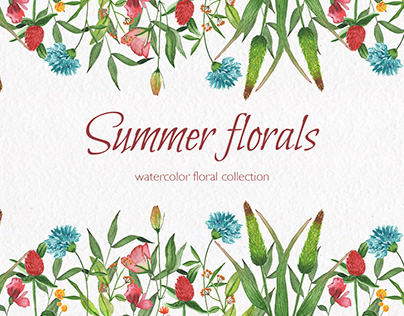 Summer florals. Watercolor floral collection.