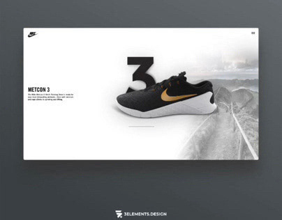 Nike Metcon 3 UI Concept and 3D Product Rendering