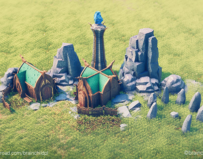 Elven village - 3d Stylised low poly (Render in Unity)
