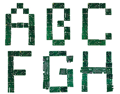 Circuit Board Constructed Alphabet