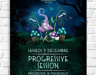 Affiche et flyer pour la soirée Progressive Session