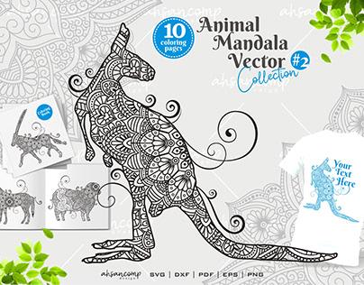 Animal Mandala Vector Coloring Book